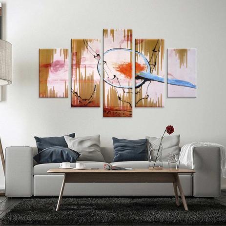 398d0f320 Conjunto de 5 Telas Decorativas em Canvas Abstrato Filtro - Love decor
