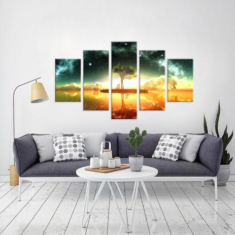 a0e69d70a Conjunto de 5 Telas Decorativas em Canvas Abstrato Paisagem Refletida -  Love decor