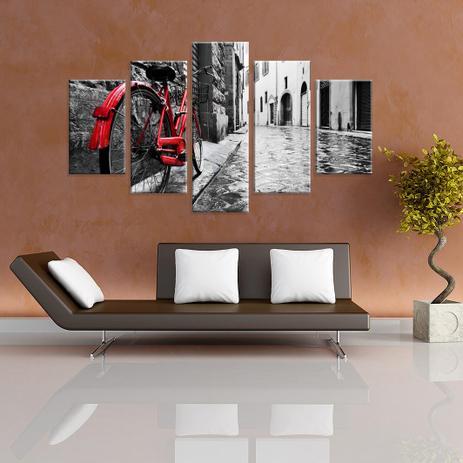 e25f443e3 Conjunto de 5 Telas Decorativas em Canvas Clássica Bicicleta - Love decor