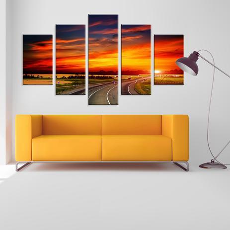 f6c5cf11a Conjunto de 5 Telas Decorativas em Canvas Viagem ao Por do Sol - Love decor