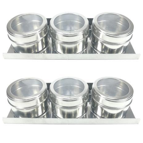 Imagem de Conjunto de 6 porta condimentos com suporte em aço inox.
