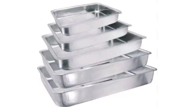 Imagem de Conjunto De Assadeiras Retangular Alta 5 Peças Em Alumínio