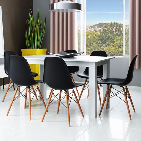 Imagem de Conjunto de Mesa 5231 Branca com 6 Cadeiras Eames Base Madeira Preta