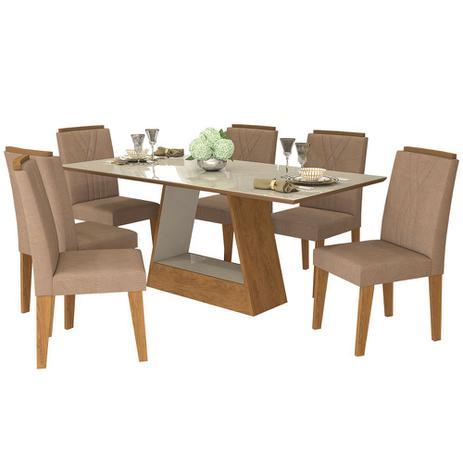 Conjunto de Mesa Alana 180cm com 6 Cadeiras Nicole Cimol Savana Off White/Pluma - Cimol moveis