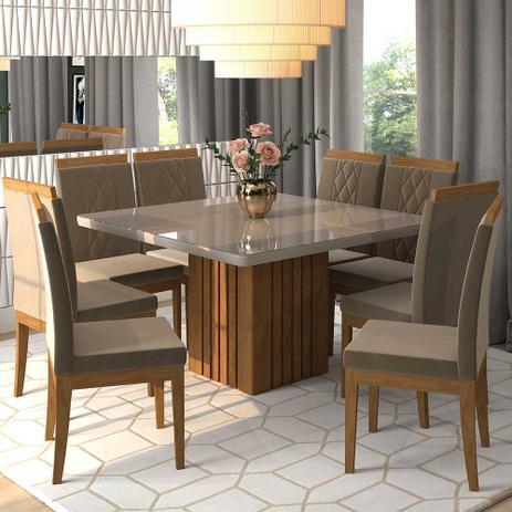 5b319d919 Conjunto de Mesa Ana 130cm com 8 Cadeiras Alice Cimol Savana  Off White  Joli - Cimol moveis