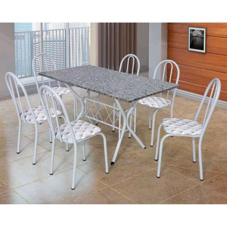 Imagem de Conjunto de Mesa Bruna Craqueado Branco Com 6 Cadeiras 050 Estampa Capitonê Artefamol