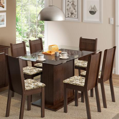Imagem de Conjunto de Mesa com 6 Cadeiras Gales Tabaco e Lírio Bege