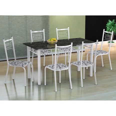 Imagem de Conjunto de Mesa com 6 Cadeiras Lisboa Branco e Branco Floral