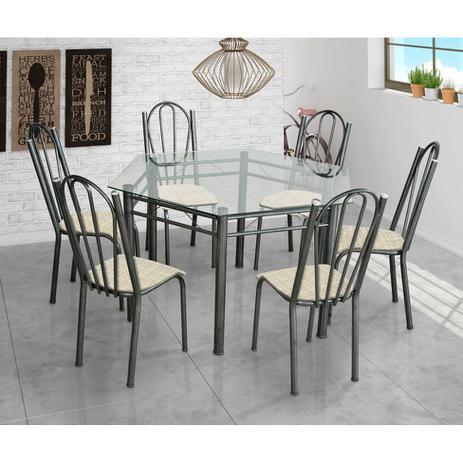 Imagem de Conjunto de Mesa com 6 Cadeiras Lorena Craqueado Preto e Estampa Rattan