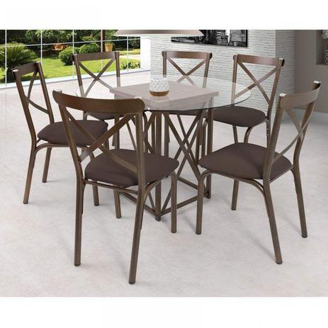 Imagem de Conjunto de Mesa com 6 Lugares Karina Móveis Ciplafe Linho Marrom