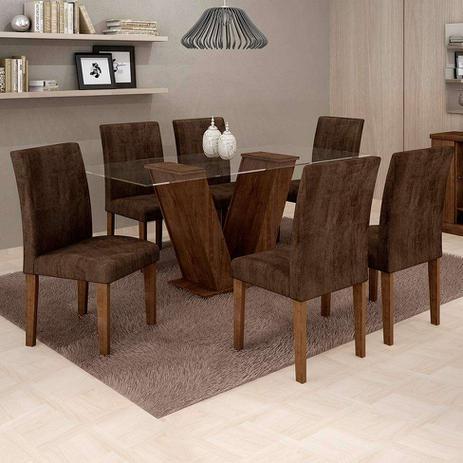 Imagem de Conjunto de Mesa de Jantar com 6 Cadeiras Classic Veludo Chocolate Marrom