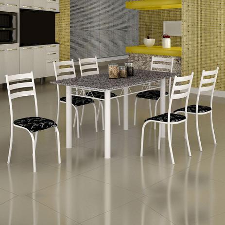 Imagem de Conjunto de Mesa Itália 1,40m Tampo Granito com 6 Cadeiras 591/13 Madmelos Branco / Preto Flor
