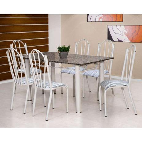 Imagem de Conjunto de Mesa Luana com 6 Cadeiras Branca Linho