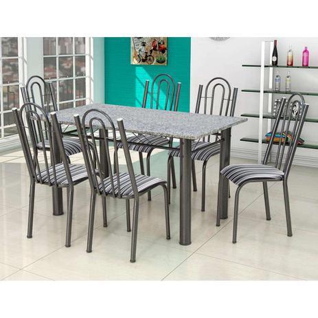 Imagem de Conjunto de Mesa Luiza com 6 Cadeiras Craqueado Preto Listrado