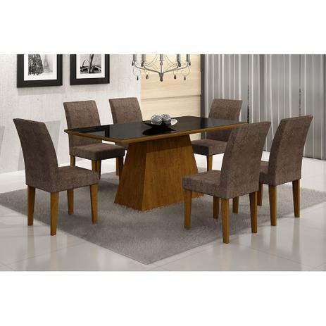 Imagem de Conjunto de Mesa Luna II 180 cm com 6 Cadeiras Grecia Suede Amassado Imbuia e Chocolate
