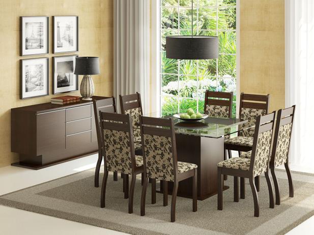 Conjunto de Mesa Madeira com 8 Cadeiras Estofadas - Madesa Louise