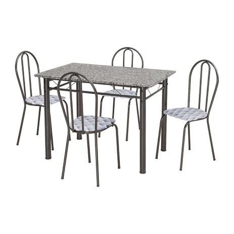 Imagem de Conjunto de Mesa Monique com 4 Cadeiras Craqueado Preto Capitonê