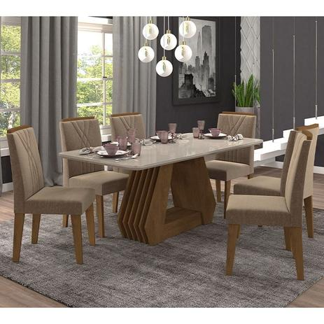 Imagem de Conjunto de Mesa para Sala de Jantar com 6 Cadeiras 180x90 Agata/Nicole-Cimol