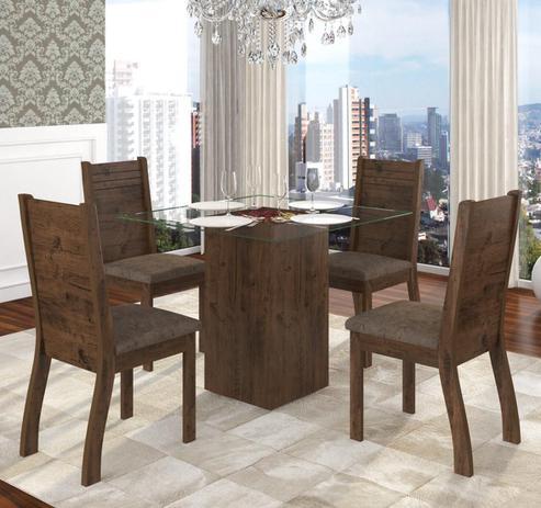 7d25b0ed36 Conjunto De Mesa Para Sala De Jantar Day Com Vidro 4 Cadeiras Ebano Dakota  - At house