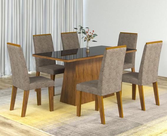 dd843b261b Conjunto De Mesa Para Sala De Jantar Indiana Com Vidro Preto 6 Cadeiras  Cedro Dakota - At house