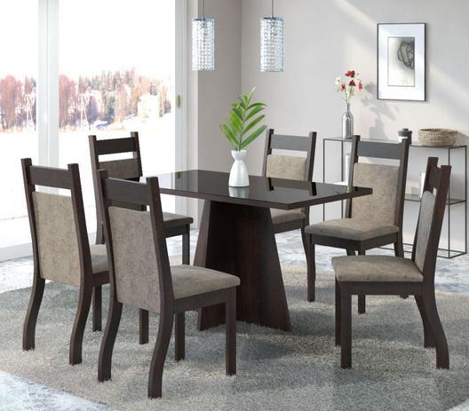 54f1c4bb98 Conjunto De Mesa Para Sala De Jantar Nevada Com Vidro Preto 6 Cadeiras  Nogueira Dakota - At house