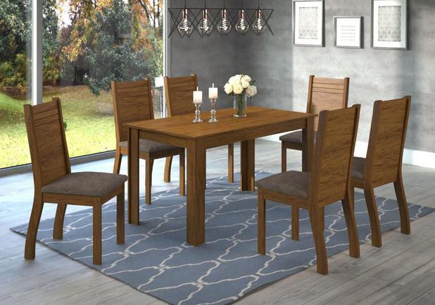 80d8244226 Conjunto De Mesa Para Sala De Jantar Plus Com 6 Cadeiras Cedro Dakota - At  house