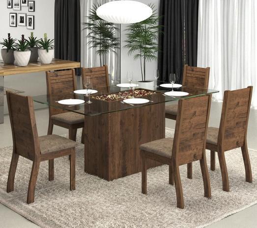 05e7b5a3d6 Conjunto De Mesa Para Sala De Jantar Roberta Com Vidro 6 Cadeiras Ebano  Dakota - At house