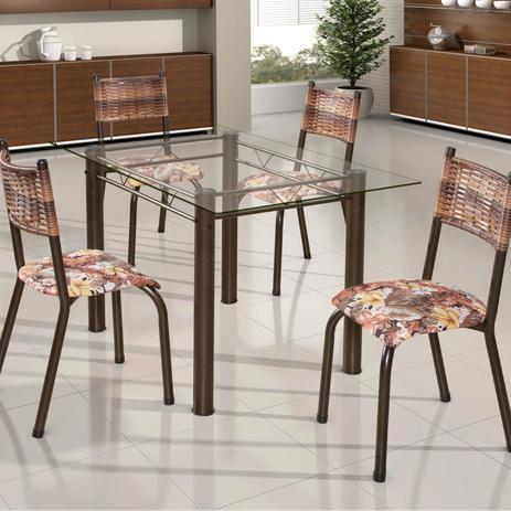 Imagem de Conjunto de Mesa Retangular Tampo de Vidro 4 Cadeiras França BM Móveis Tubulares