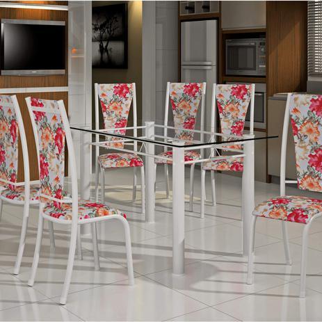 Imagem de Conjunto de Mesa Retangular Tampo de Vidro 6 Cadeiras Dubai BM Móveis Tubulares