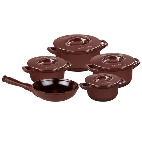 Imagem de Conjunto De Panelas Duo 5 Peças Em Cerâmica Chocolate Ceraflame