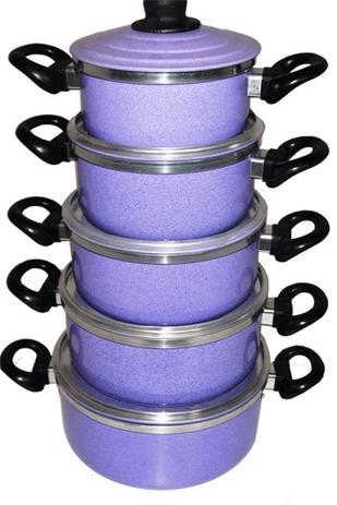 Imagem de Conjunto De Panelas Em Aluminio Coloridas Cor Liláz 5 Peças