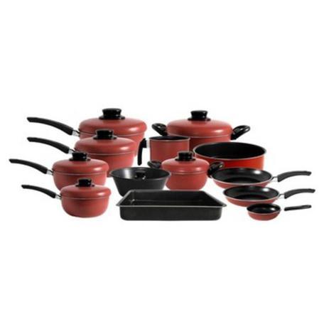 Imagem de Conjunto de Panelas Teflon com Antiaderente 13 Peças  Vermelho