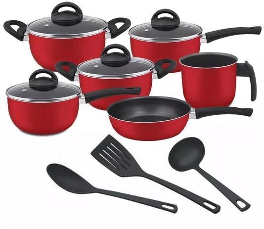 Imagem de Conjunto de Panelas  Vermelho 09 Peças com Teflon