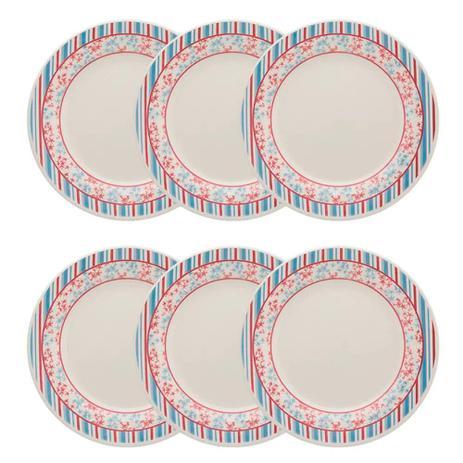 Imagem de Conjunto de Pratos Rasos 24 cm 6 peças Melissa Azul com Vermelho - Oxford