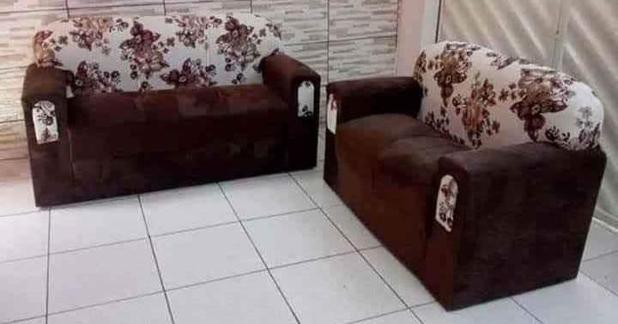 Imagem de Conjunto de sofá 2 e 3 Lugares Xaropinho Suede Marrom Floral