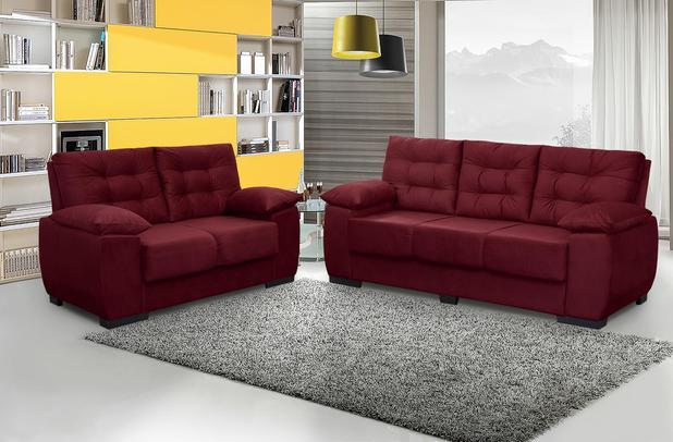 Imagem de Conjunto de Sofá Luxemburgo 3 e 2 Lugares Tecido Suede Amassado Vinho - Moveis Marfim