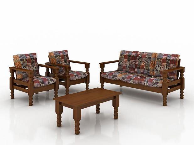 Conjunto de sofa madeira macica 3+1+1 lugares com ...