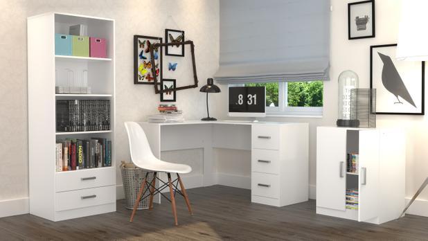 Imagem de Conjunto Escritório Office Plus Appunto 3 Peças: Armário Com Gavetas, Escrivaninha Em L Com 3 Gavetas E Balcão - Branco