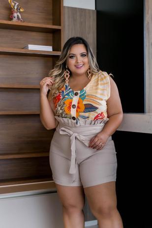 c6bed4cdf Conjunto Feminino Plus Size Blusa e Short Lindo Moda Feminina - Bellucy  modas