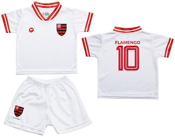 904cd32c05 Conjunto Flamengo Uniforme Infantil Branco - Torcida Baby - Revedor ...