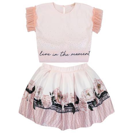 Imagem de Conjunto Infantil Feminino Petit Cherie Blusa e Saia Floral
