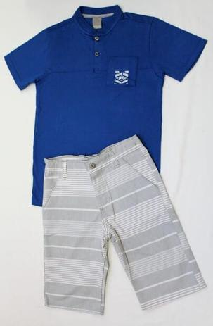Conjunto Infantil Masculino- Camisa Polo Azul e Bermuda - Carinhoso ... 5e02b78062d