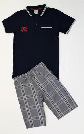907d366bd7 Conjunto Infantil Masculino - Camisa Polo e Bermuda - Carinhoso ...