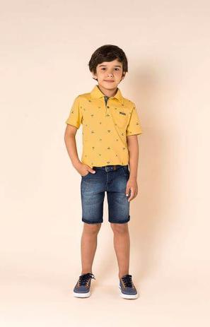 Conjunto Infantil Masculino - Camisa Polo e Bermuda Jeans - Carinhoso 21cafcbd9a0db