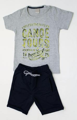 Conjunto Infantil Masculino- Camiseta e Bermuda Moletom - Carinhoso ... bcd88c4849b
