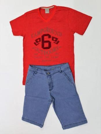 Conjunto Infantil Masculino - Camiseta Vermelha Bermuda Jeans - Carinhoso 965a8e7162d58