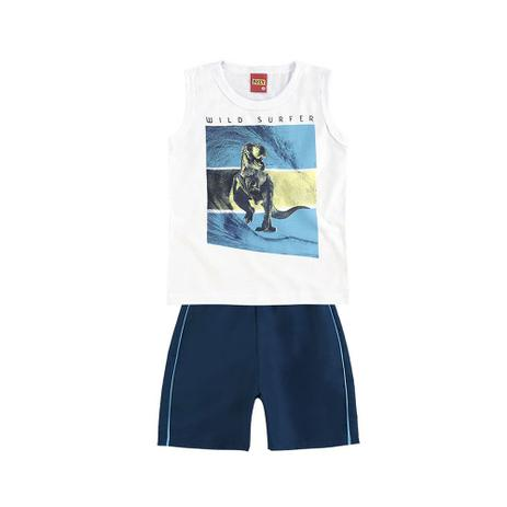 f1678ef3d Conjunto Infantil - Masculino - Regata e Bermuda - Branco e Azul - Wild  Surfer - Kyly