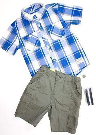 cf752826ee840f Conjunto Infantil Milon Masculino com cinto xadrez Azul/Cinza / Tamanho P