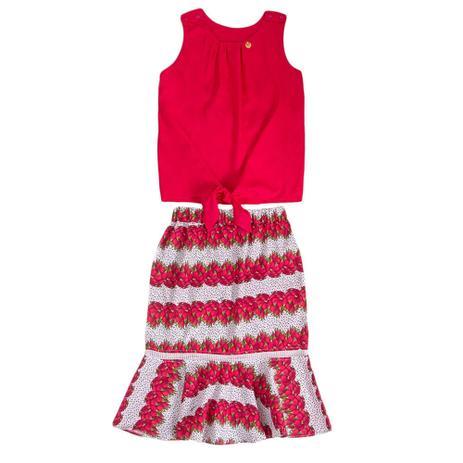 Imagem de Conjunto Infantil Precoce Feminino Blusa de Viscose Pink e Saia Midi Estampa Pitaya  Tam 14
