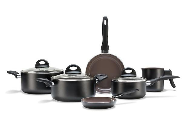 Imagem de Conjunto Jogo de  Panelas com 6 Peças Ceramic Fife Smart Plus Antiaderente Preto - Brinox